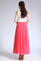 Melon Red Chiffon Skirt High Waisted Beach Chiffon Skirt Plus Size image 5