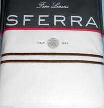 Sferra GRANDE HOTEL Flat Sheet Twin White/Chocolate Satin Stitch Percale... - $78.90