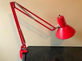 Vintage Red Articulating Swing Arm Desk Clamp Lamp Waso Verken AB Bohus ... - $99.95