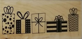 Hampton Art Presents in a Row Wood Mounted Rubber Stamp Janet Dunn Design