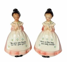 Enesco Salt Pepper Shakers Our Father Daily Bread Lords prayer figurines vtg mcm - $39.55