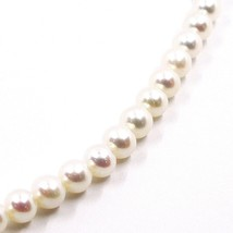 Collier, Fermoir or Blanc 18K, Perles Blanches 6-6.5 mm, 42 49 55 CM image 2