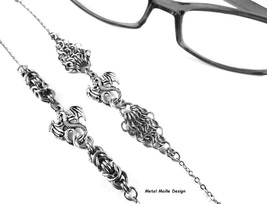 Dragon Eyeglasses Chain Necklace Steel Byzantine Chainmail Handcrafted L... - $29.00+