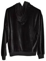 Forever 21 Black Ribbed Velvet Hooded Long Sleeve Pullover Hoodie Size S image 2