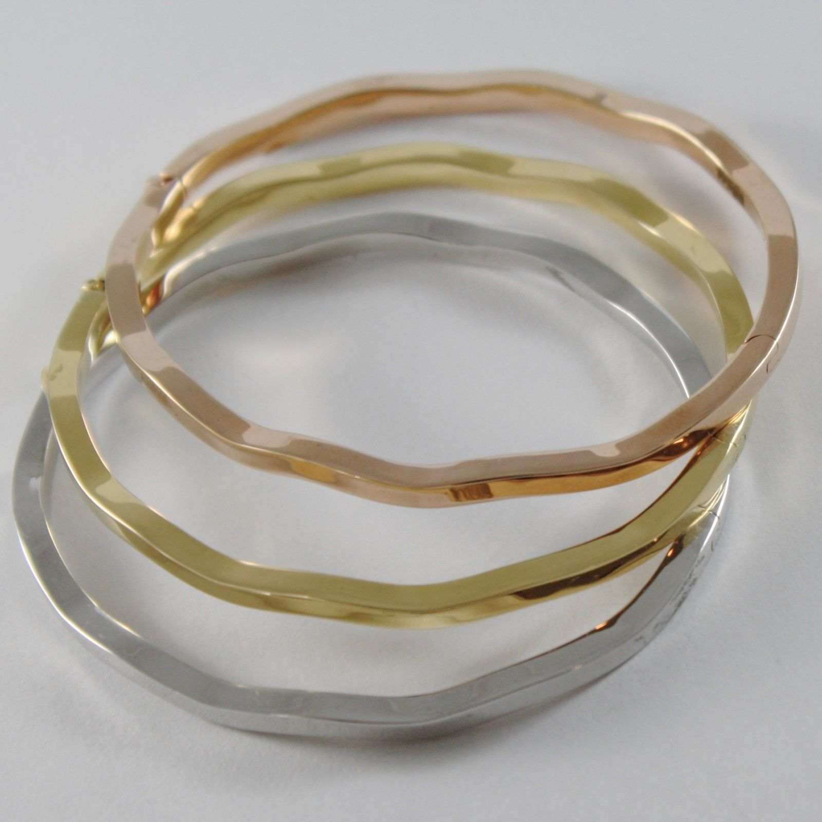 THREE 18K WHITE ROSE YELLOW GOLD BANGLE ONDULATE RIGID BRACELETS MADE IN ITALY