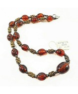 Vintage Amber  Lucite Beaded Necklace Boho New with Tag - $32.50