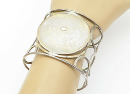 925 Sterling Silver - Vintage Large Retro Circle Designed Cuff Bracelet ... - $150.16