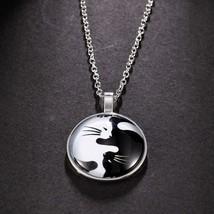 Fashion Women Men Animal Yin Yang Cat Pendant Choker Statement Silver Necklace F - $7.79