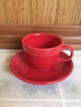 Fiesta ware Scarlet Red Cup and Saucer Espresso Demitasse Cup Homer Laug... - $20.45