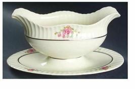 Sachet by Lenox Scalloped, Floral Rim, Platinum Ring Gravy Boat w/underp... - $99.10