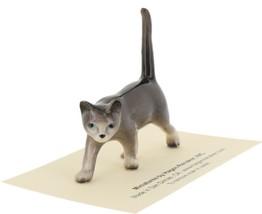 Hagen Renaker Miniature Cat Gray Walking Ceramic Figurine