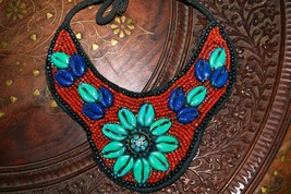 Vintage Tibetan Coral and Shells Bib Necklace - $27.61