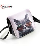 Shoulder Bags PU Leather Cat Wearing Big Glasses L4-1186 Handbags - $18.99