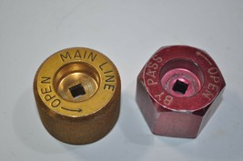 Used MSA Red By-Pass & Yellow Main Line Knob Wheel Set Part# 449392 449391 - $14.06
