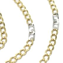 Gold Chain Yellow White 750 18K, 50 cm, Groumette Flat and Squares, 3 MM image 2