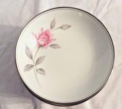 "11 Noritake Rosemarie Dessert Bowl Plate Pink Rose Leaves Silver Vintage 5 1/2"" - $34.64"