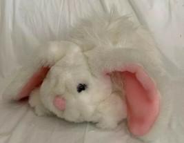 "Fiesta Vintage 1989 Plush Bunny 14"" Lying F.T. Rabbit White Fuzzy Pink Ears EUC - $21.99"