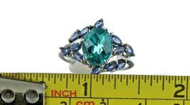 Ladies Size 7.25 Sterling Silver Blue Green Tourmaline Ring No. 2155 image 7