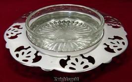Butter Dish Depression Glass Insert Pierced Renown Silverplate EPNS 14 cm - $13.73