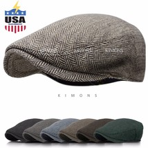 EM Herringbone Ivy Hat Wool Stripe Gatsby Cap Golf Driving Flat Cabbie N... - $37.40