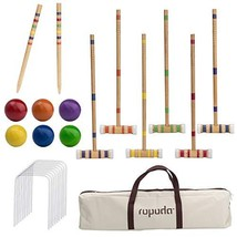 ROPODA Six-Player Croquet Set with Wooden Mallets, Colored Balls, Sturdy... - $42.06