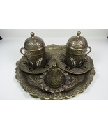 handmade Ottoman Turkish Coffee set Espresso Cup&Saucer,Copper look&Porc... - $47.88