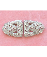 ANTIQUE ART DECO 2.50ctw DIAMOND PLATINUM BROOCH PIN DOUBLE DRESS CLIPS 1930 - £3,075.44 GBP
