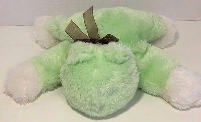 bfbc0425e Carters plush green white flat lying down frog baby polka dot brown bow  floppy