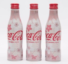 Sakura 2018 Design Coca Cola Aluminum Full bottle 3 bottles 250ml Japan Limited - $37.62