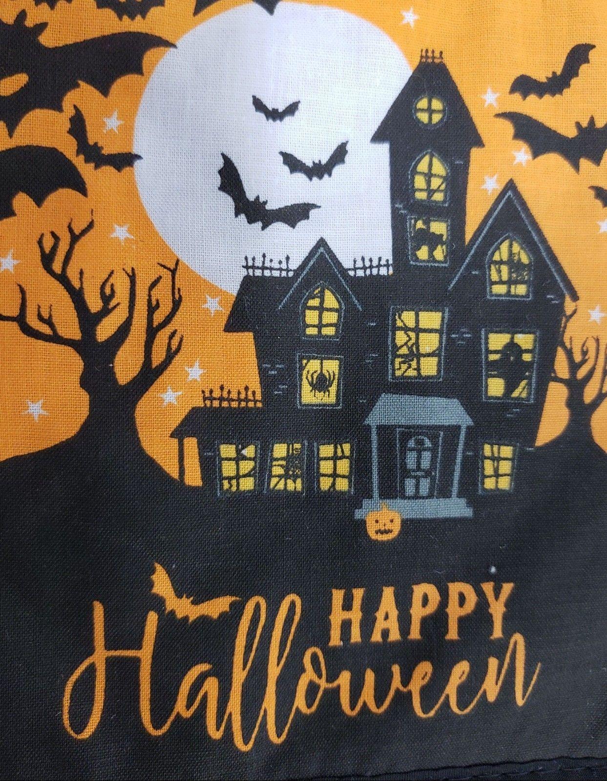 Printed Kitchen Potholder, HALLOWEEN HAUNTED HOUSE & BATS, black back, GR