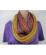 Handcrafted Knitted Cowl Violet/Orange/Yellow Textured Fuzzy Female Adult - $53.38