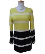 EUC - VERTICAL DESIGN Yellow Black Stripe 100% Cashmere Sweater Size M - $34.65