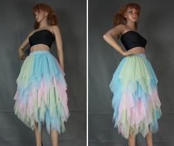 Women's Sweet High Waist Hi-lo Tiered Tulle Layered Ruffle Mesh Long Tier Skirt image 5
