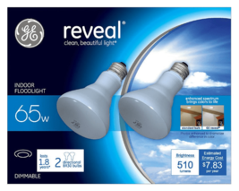 2 GE Reveal HD+ 65W R30 Light Bulbs, Indoor Dimmable Floodlight, 445 Lumens NEW