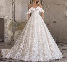 Sweetheart A Line Applique Off The Shoulder Lace Up Sweep Train Bridal Gown image 4
