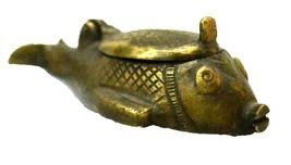 Vintage Brass Kajal Box Pot Dibbi Old Collectible Hand Carved Fish Shape - $60.80