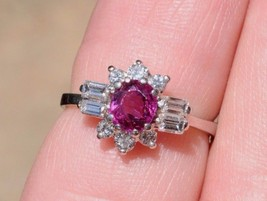 Custom made 14K White Gold Ruby and Diamond Ring (Size 5 1/4) - $640.00
