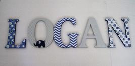 Wood Letters-Nursery Decor- Navy Blue & Grey Elephant theme- Price Per L... - $12.50