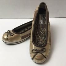 Sperry Top Sider Largo Gold Brown Sueded Patchwork Ballerina Flats Women 7.5 - $34.64