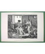 NUDE Toilette of Japanese Lady - VICTORIAN Era Print - $12.15