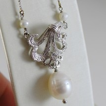 18K WHITE GOLD CHAIN NECKLACE WITH FLOWER ANTIQUE STYLE AND PEARLS MADE IN ITALY image 2