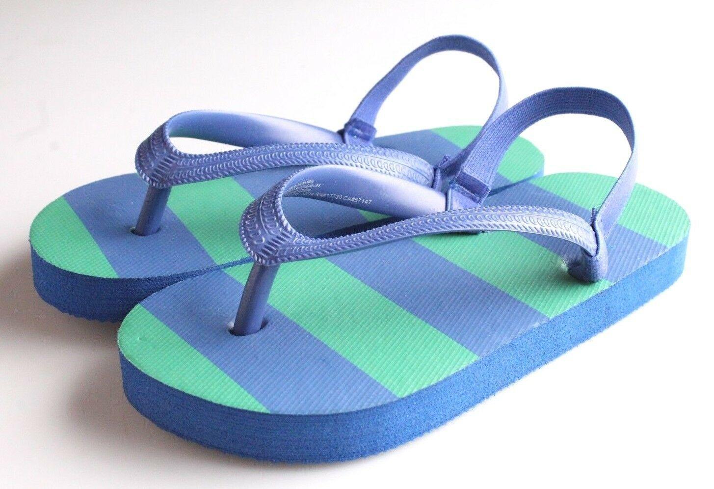 Kinder Grün Oder Grün/Blau Gestreift Gummi Zehentrenner Strand Slipper Sandalen
