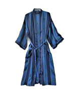 Vintage Christian Dior Monsieur Men's Robe Navy Blue Green Hong Kong One... - $49.88