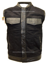 MEN'S MOTORCYCLE SON OF ANARCHY BLACK DENIM VEST W/LEATHER TRIMMING & ZI... - $65.16+