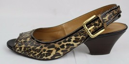 Franco Sarto Name women's slingback sandals peep pumps animal print size 5.5M - $18.79