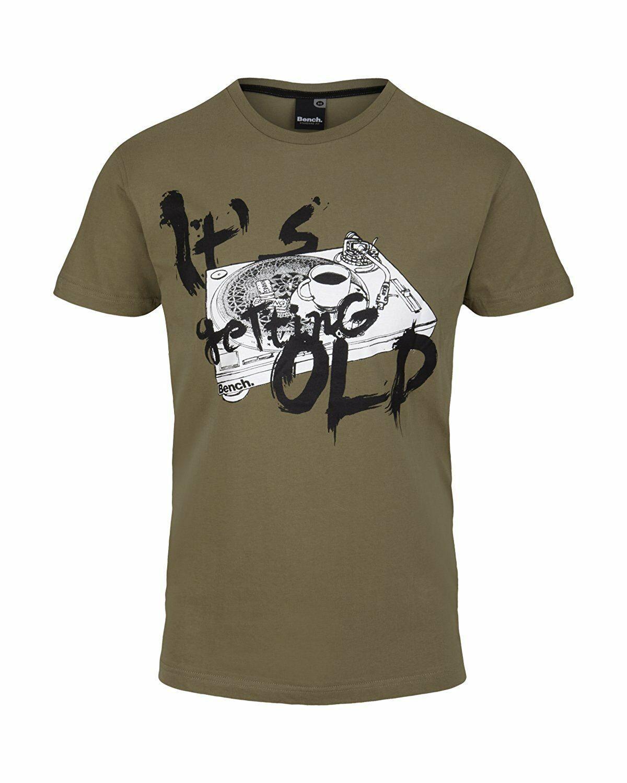 Bench Getting Vecchio Urban Abbigliamento Street Uomo Verde Cachi T-Shirt Nwt