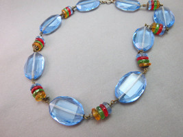 "Art Deco Necklace Blue Faceted Glass Crystal Multi Color Bead 16.5"" Antique - $98.99"