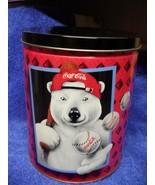 """Coca Cola Tin 7.5"""" Tall 6"""" Diam Polar Bear Coke - $10.40"""