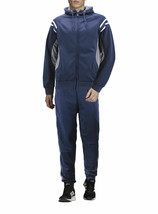 Men's Hooded Working Out Gym Fitness Casual Jogging Navy Tracksuit 2 Pcs Set XL