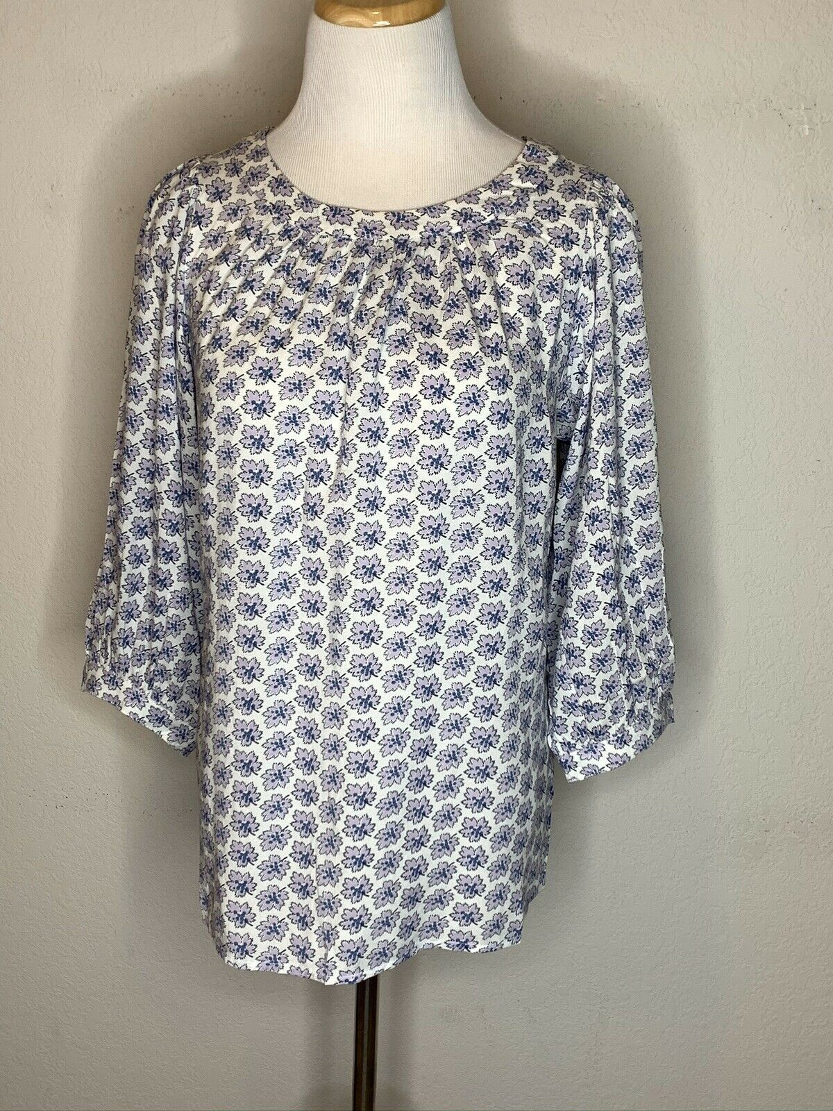 Primary image for GAP Womens Floral Peasant Boho Tunic Top Blouse Lightweight White Purple Sz XS